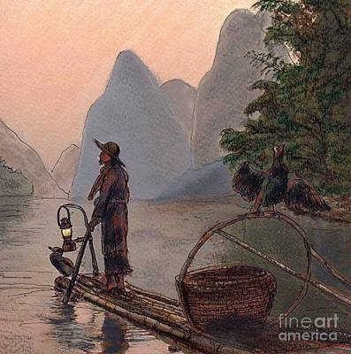 Painting - Li River Night Fisherman by Randy Sprout