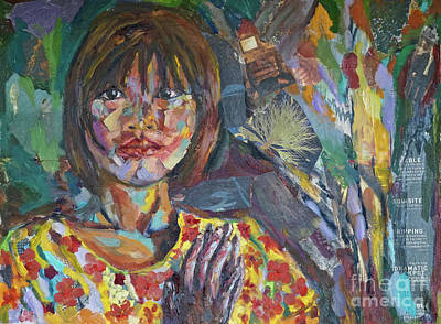 Mixed Media - Burma Schoolgirl by Michael Cinnamond