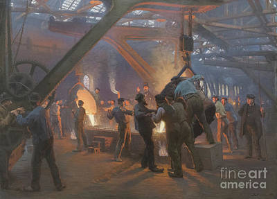 Fire Works Painting - Burmeister And Wain Iron Foundry, 1885 by Peder Severin Kroyer