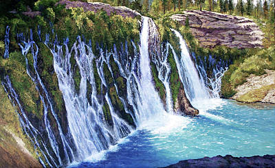 Burney Falls Art Print by Donald Neff