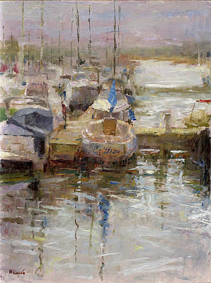 Wall Art - Painting - Burnham Harbor by Miguel Malagon