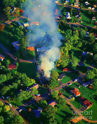 Photograph - Burnin Down The House Aerial Single Family Home On Fire  by Tom Jelen