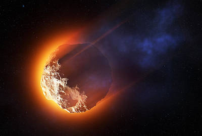 Flaming Digital Art - Burning Asteroid Entering The Atmoshere by Johan Swanepoel