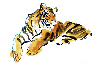 Tiger Mixed Media - Burning Bright by Mark Adlington