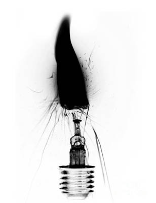 Burnt Digital Art - Burning Bulb by Michal Boubin