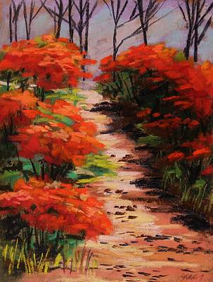 Burning Bush Along The Lane Art Print by John Williams