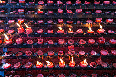 Photograph - Burning Candles Of Santa Nino Basilica by James BO Insogna