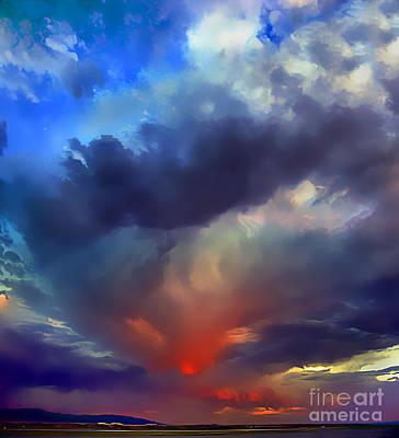 Digital Art - Burning Clouds Over Albuquerque, Sunset by Wernher Krutein