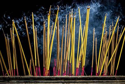 Burning Joss Sticks Art Print by Hitendra SINKAR