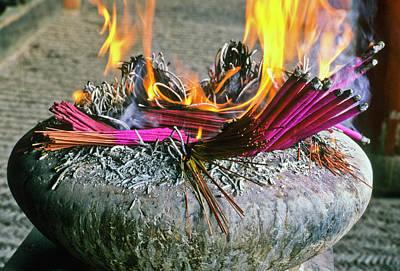 Photograph - Burning Joss Sticks by Michele Burgess