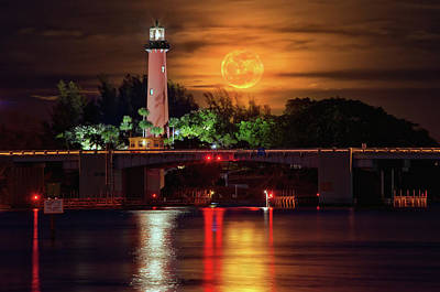 Burning Moon Rising Over Jupiter Lighthouse Art Print