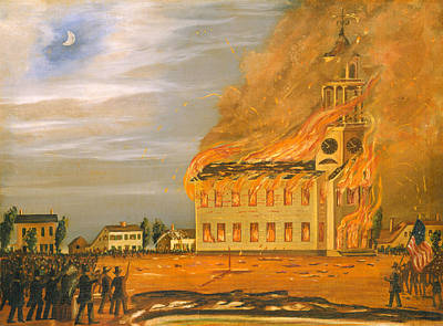Old Church Painting - Burning Of Old South Church - Bath Maine  by Mountain Dreams