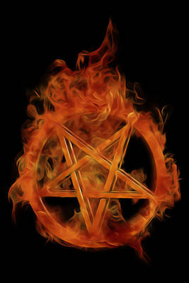 Burning Pentagram Art Print by Jesse Redheart