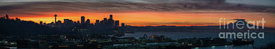 Skylines Royalty-Free and Rights-Managed Images - Burning Seattle Skyline Sunrise Panorama by Mike Reid