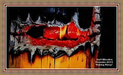 Burning Stump H A With Decorative Ornate Printed Frame. Art Print