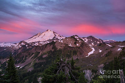First Snow Photograph - Burning Sunrise Skies Above Mount Baker by Mike Reid