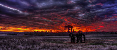 Burning Sunset The Iron Horse Art Print by Reid Callaway
