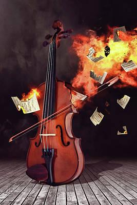 Surrealism Digital Art - Burning violin by Mihaela Pater
