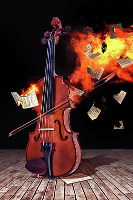 Burning With Music Art Print