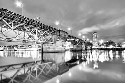 Burnside Bridge Portland Oregon At Night Art Print