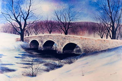 Drawing - Burnside's Bridge In Winter by Paul Cubeta