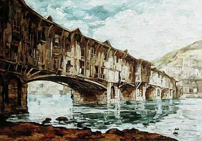 Covered Bridge Painting - Burnt Bridge by Maria Arnaudova