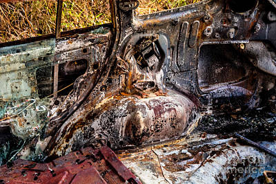 Photograph - Burnt Car by M G Whittingham