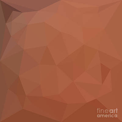 Burnt Digital Art - Burnt Orange Abstract Low Polygon Background by Aloysius Patrimonio