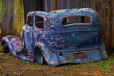 Burnt Out Classic Car Art Print by Garry Gay