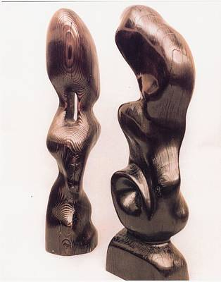 Burnt Sculptures Pair Art Print by Lionel Larkin