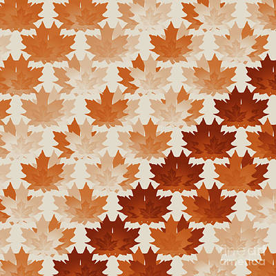 Burnt Digital Art - Burnt Sienna Autumn Leaves by Methune Hively