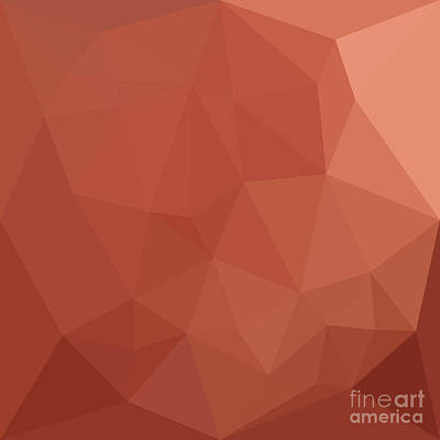 Burnt Digital Art - Burnt Sienna Orange Abstract Low Polygon Background by Aloysius Patrimonio