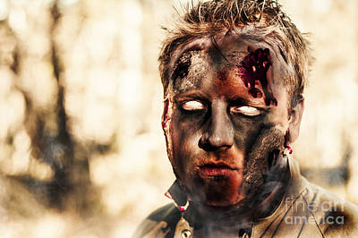Burnt Zombie Standing In Smouldering Horror Forest Art Print by Jorgo Photography - Wall Art Gallery