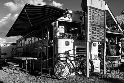 Photograph - Burrito Bus Bw by Mel Steinhauer