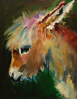 Equine Art Painting - Burro Donkey by Diane Whitehead
