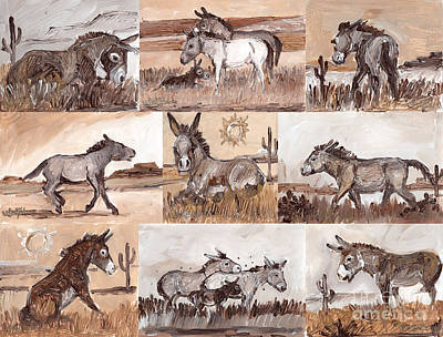 Burros Of The South West Sampler Art Print by Linda L Martin