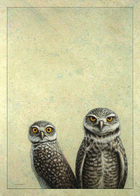Green Painting - Burrowing Owls by James W Johnson