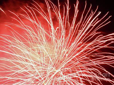 Burning Night Time Sky Photograph - Bursting by GabeZ Art