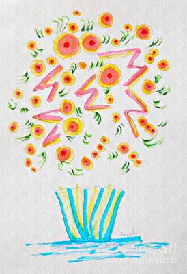 Abstract Flowers Drawings - Bursting Out by Sarah Loft