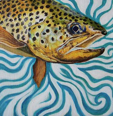 Trout Painting - Burt The Butterstick by Lacey Hermiston