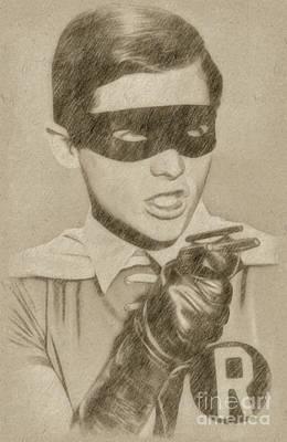 Fantasy Drawings - Burt Ward as Robin by Frank Falcon