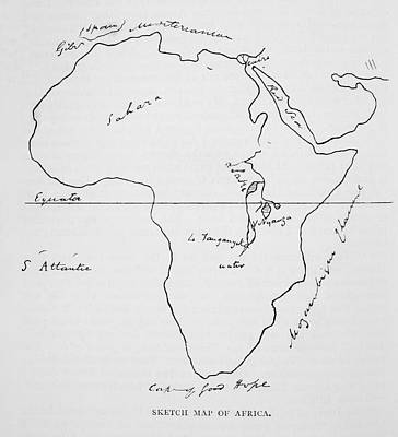 Sketches Map Drawing - Burtons Sketch Map Of Africa. Sir by Vintage Design Pics