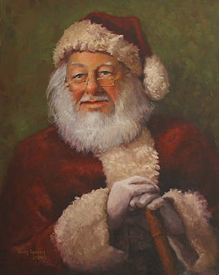 Santa Wall Art - Painting - Burts Santa by Vicky Gooch