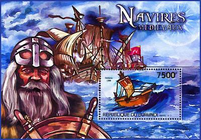 Burundi 2012 Ships Medieval Navigators Art Print