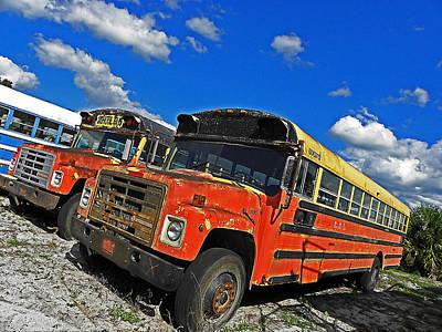 Old School Bus Photograph - Bus Graveyard II by Elizabeth Hoskinson