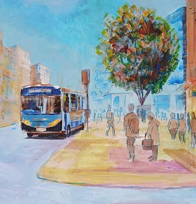 Painting - Bus In Town City Scene by Mike Jory