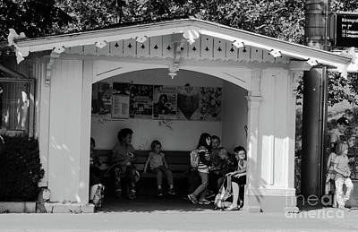 Photograph - bus  stop at Nydeggbruecke by Michelle Meenawong