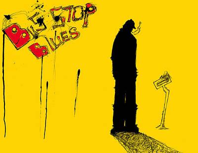Stop Mixed Media - Bus Stop Blues by Michael De Alba