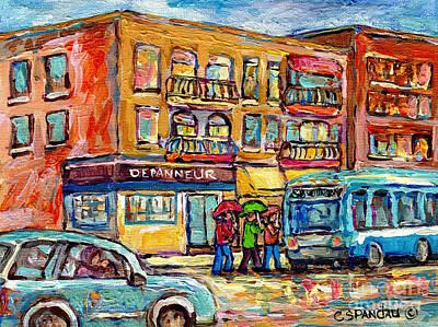 Painting - Bus Stop Depanneur Arret 58 Wellington Bus Cornerstore Rainy Day Verdun Montreal Painting C Spandau  by Carole Spandau