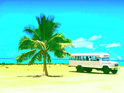 Haleiwa Mixed Media - Bus Stop In Paradise by Dominic Piperata